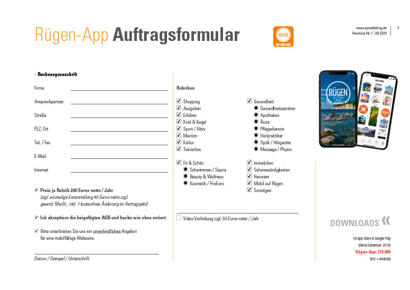 Anzeigenauftrag Ruegen App apmarketing | ap Marketing