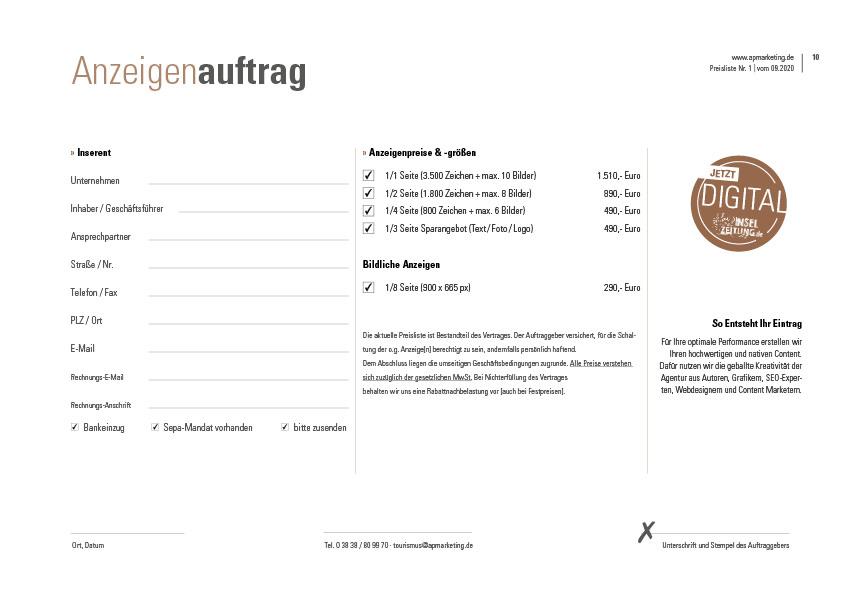Anzeigenauftrag Ruegen Highlights apmarketing | ap Marketing