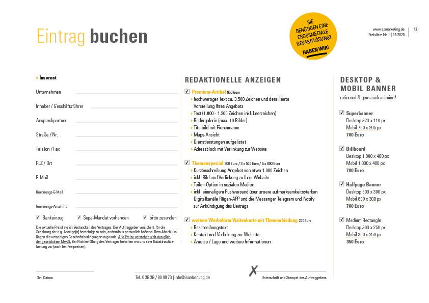 Anzeigenauftrag inselzeitung ruegen apmarketing | ap Marketing